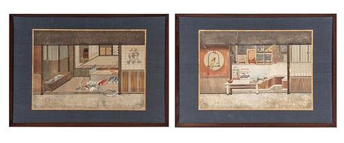Two Japanese Ink and Color on Paper 14 x 19 7/8 inches (each image).