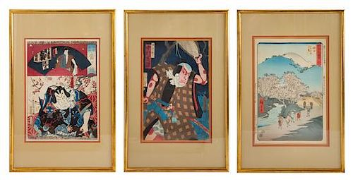 Three Japanese Woodblock Prints Each: 13 1/4 x 9 inches.