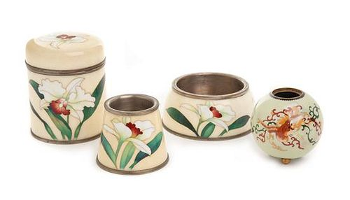 Four Japanese Cloisonne Enamel Articles Height of tallest 5 1/4 inches.