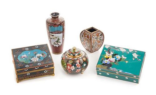 Five Japanese Cloisonne Enamel Articles Length of largest 5 1/2 inches.