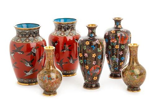 Three Pairs of Japanese Cloisonne Enamel Vases Height of tallest 5 1/4 inches.