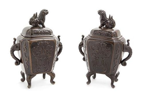 A Pair of Japanese Bronze Incense Burners Height 6 3/4 inches.