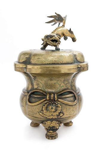 A Japanese Bronze Censer Height 16 inches.
