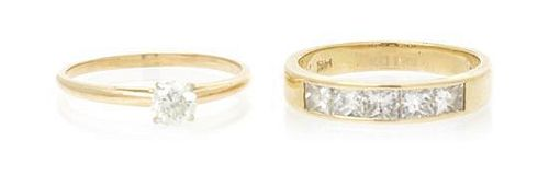 A Collection of 14 Karat Yellow Gold and Diamond Rings, 3.80 dwts.
