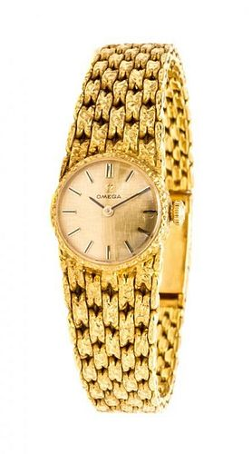 An 18 Karat Yellow Gold Wristwatch, Omega, 27.85 dwts.