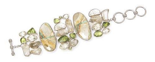 * A Sterling Silver, Variscite, Peridot, Golden Labradorite and Rutilated Quartz Bracelet, Starborn, 72.70 dwts.