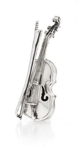 * A Silver Miniature Violin Figurine, Vittorio Angini. 8.20 dwts.