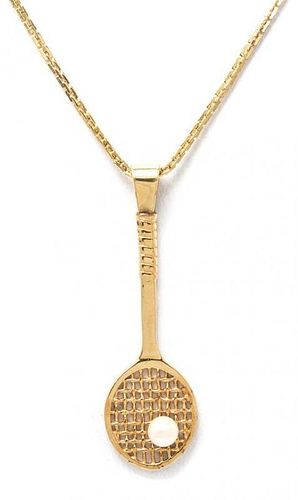 * A 14 Karat Yellow Gold and Cultured Pearl Tennis Racket Pendant, 4.30 dwts.
