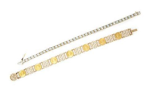 A Collection of Yellow Gold Bracelets, 19.00 dwts.