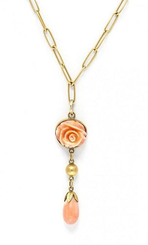 * A 14 Karat Yellow Gold and Coral Flower Necklace, Kalo, 5.10 dwts.