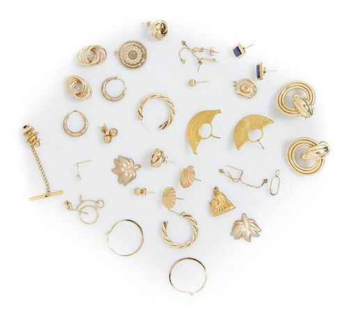 A Collection of Yellow Gold and Gold Tone Jewelry, 26.30 dwts.