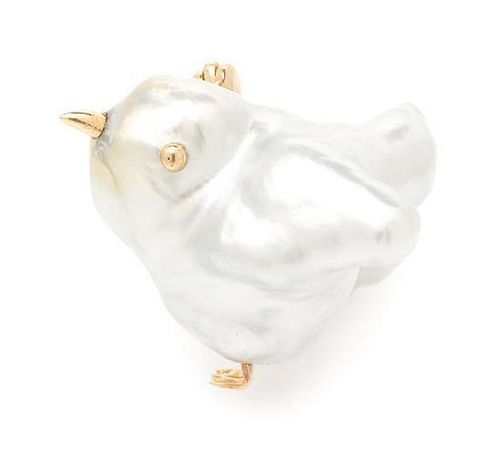 * A Collection of 14 Karat Yellow Gold and Baroque Pearl Chick Pins, 5.50 dwts.