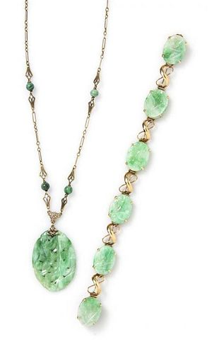 A Collection of Yellow Gold and Jade Jewelry, 14.30 dwts.