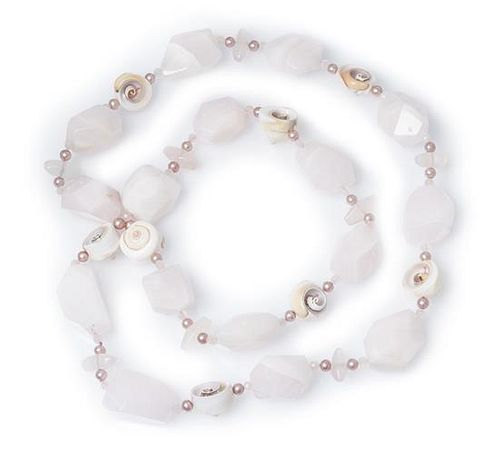 * A Pink Manganoan Calcite, Shell, Rose Quartz and Cultured Pearl Necklace,