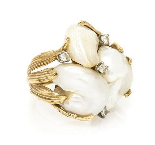 * A 14 Karat Yellow Gold, Diamond and Cultured Freshwater Pearl Ring, 8.90 dwts.