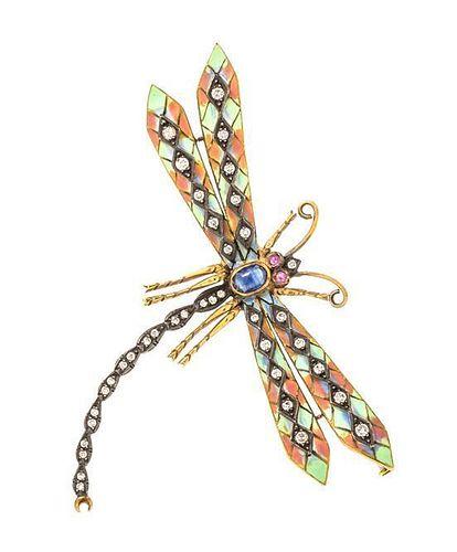 * An 18 Karat Yellow Gold, Diamond, Sapphire, Ruby and Plique-a-Jour Dragonfly Brooch, 8.85 dwts.