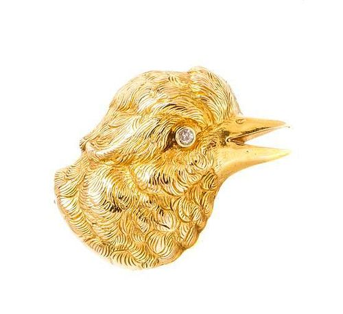 * A Victorian Yellow Gold and Diamond Bird Brooch, 4.00 dwts.