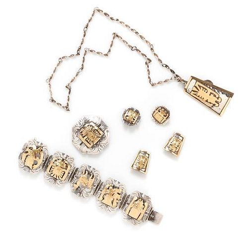 A Collection of Sterling Silver and 18 Karat Yellow Gold South American Jewelry, 85.90 dwts.