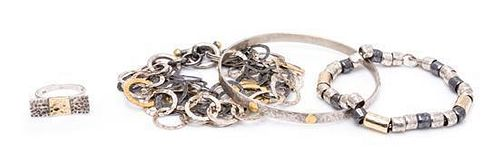 A Collection of Yellow Gold and Sterling Silver Jewelry, 36.30 dwts.