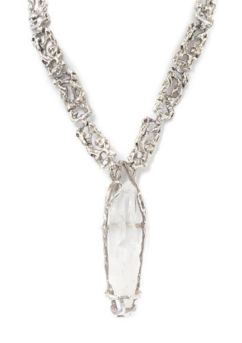 * A Silver and Crystal Necklace 88.10 dwts.