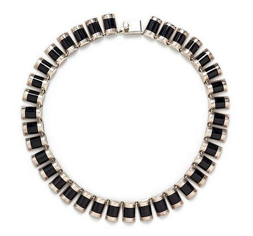 A Sterling Silver and Onyx Necklace, TILO, Mexico, 47.40 dwts.