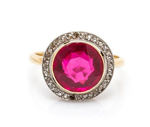 A Vintage 18 Karat Yellow Gold, Platinum, Synthetic Ruby and Diamond Ring, 2.05 dwts.