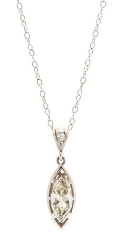 A White Gold and Diamond Pendant, 1.30 dwts.