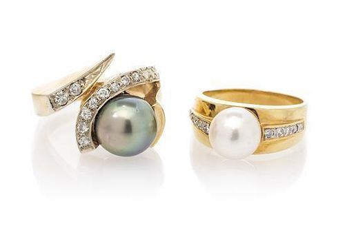 A Collection of Yellow Gold, Cultured Pearl and Diamond Rings, 16.50 dwts.