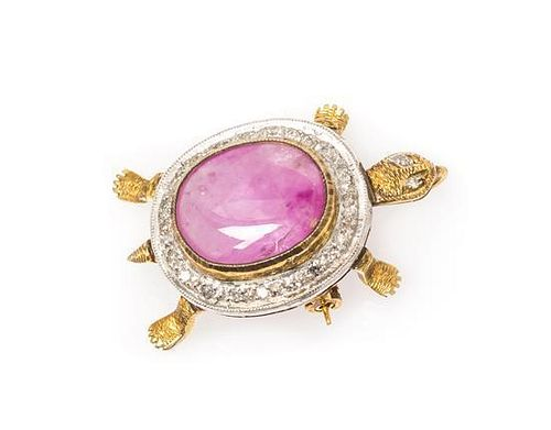 * A Gold, Ruby and Diamond Articulated Tortoise Pendant/Brooch, 4.00 dwts.