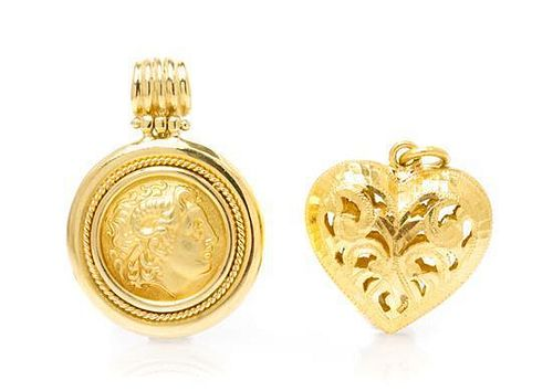 A Collection of Yellow Gold Pendants, 17.80 dwts.