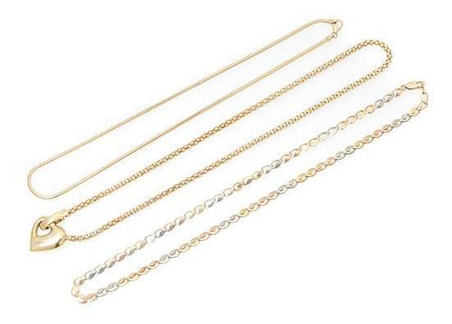A Collection of 14 Karat Gold Necklaces, 19.00 dwts.