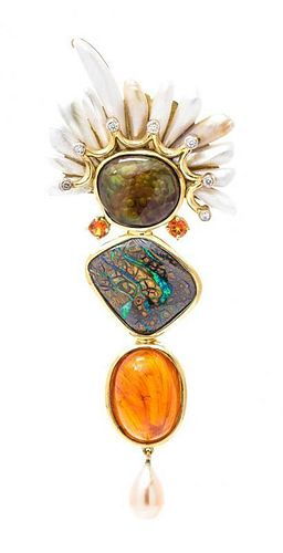 * An 18 Karat Yellow Gold, Black Opal, Hessonite Grossularite Garnet, Fire Agate, Diamond and Pearl Brooch, 21.00 dwts.