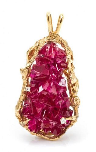 * A 14 Karat Yellow Gold, Synthetic Ruby and Diamond Pendant, 17.75 dwts.