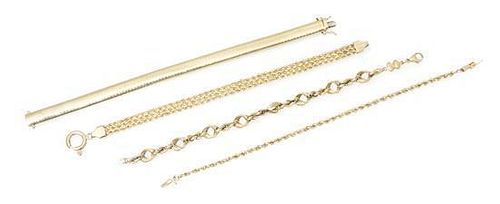 A Collection of 14 Karat Yellow Gold Bracelets, 36.70 dwts.