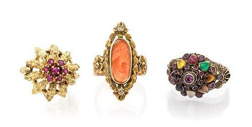 A Collection of Vintage Yellow Gold and Multigem Rings, 9.70 dwts.