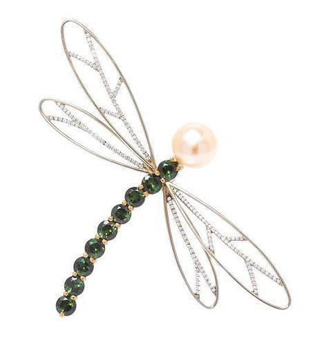* An 18 Karat Gold, Tourmaline, Cultured Pearl and Diamond Dragonfly Brooch, Gregore, 7.50 dwts.