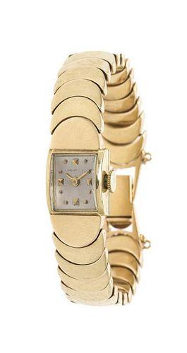 A Vintage 14 Karat Yellow Gold Wristwatch, Concord, 21.10 dwts.