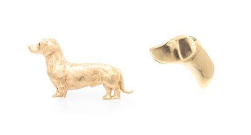 * A Collection of 14 Karat Yellow Gold Dog Brooches, 14.90 dwts.
