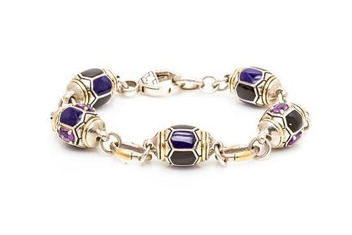 A Sterling Silver, 18 Karat Yellow Gold, Onyx, Lapis Lazuli and Amethyst Link Bracelet, Asch Grossbardt, 15.30 dwts.