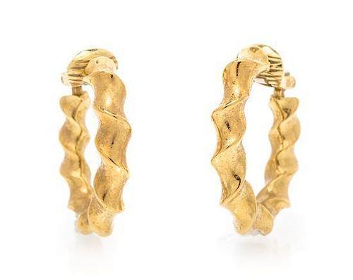 * A Pair of 18 Karat Yellow Gold Hoop Earrings, 9.60 dwts.