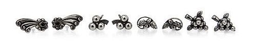 A Collection of Silver Earclips, 18.40 dwts.
