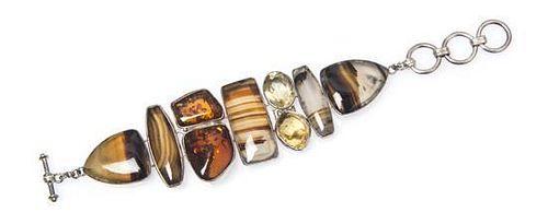 * A Sterling Silver and Multi Gem Bracelet, Starborn, 42.70 dwts.
