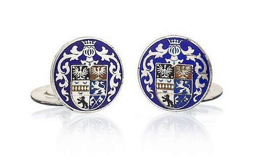 A Pair of Silver and Polychrome Enamel Cufflinks, 7.40 dwts.