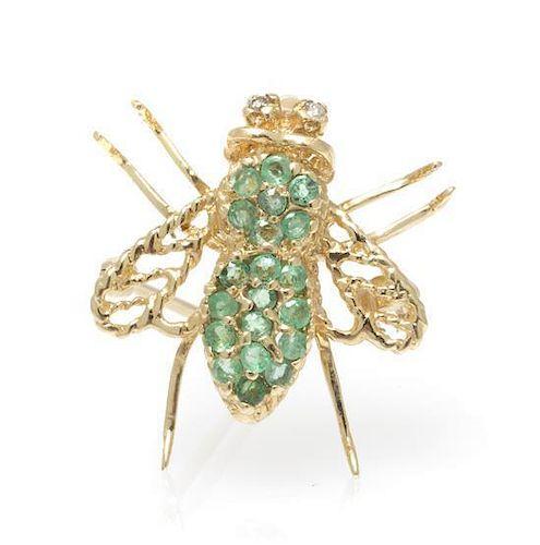 A 14 Karat Yellow Gold, Diamond and Emerald Bee Pin, 1.60 dwts.