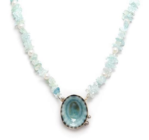 * A Collection of Sterling Silver, Sea Shell, Cultured Pearl, Garnet and Aquamarine Necklace, 98.30 dwts.
