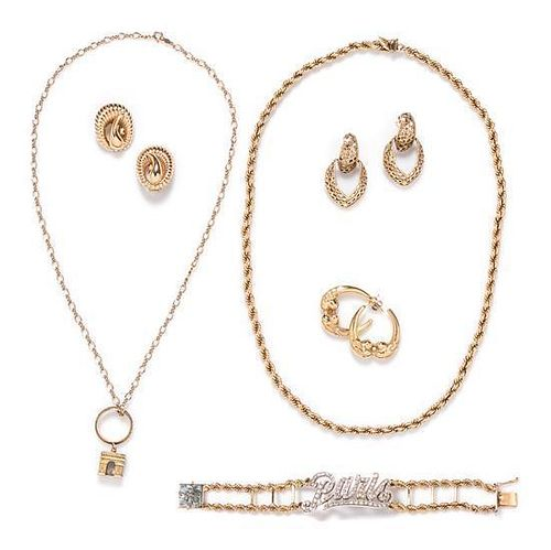 * A Collection of 14 Karat Yellow Gold and Diamond Jewelry, 50.30 dwts.