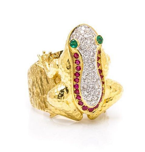 * An 18 Karat Yellow Gold, Diamond, Ruby and Emerald Frog Ring, 17.80 dwts.