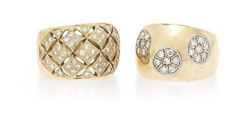 A Collection of 14 Karat Yellow Gold and Diamond Rings, 8.60 dwts.