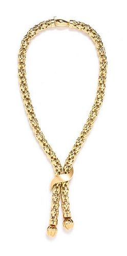A 14 Karat Yellow Gold Lariat Necklace, Italy, 49.90 dwts.