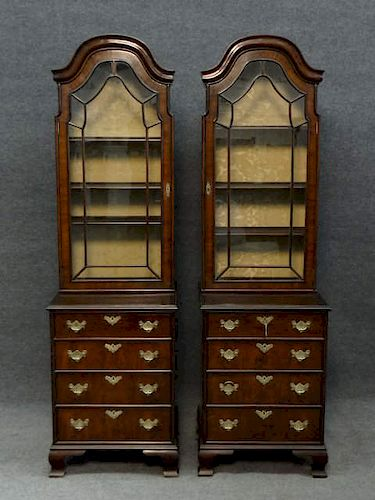PR OF BOOKCASE CABINETS OVER DRAWERS